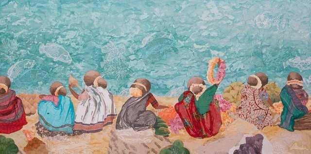 Goan Women 2, woodblock monoprint acrylic collage fabric on canvas