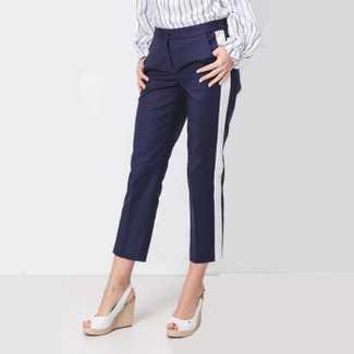 Michael Kors Sateen Cotton White Stripe Pant