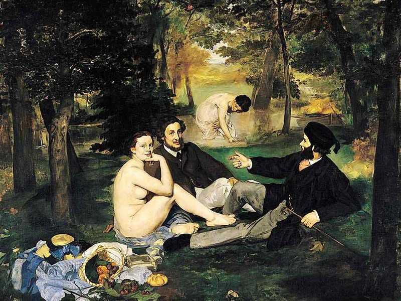 Manet's Luncheon on the Grass (Dejuner sur l'herbe) was shown at the Salon de Refuses in 1863. Like Olympia, shown two years later, it was roundly rejected by art critics and the public.