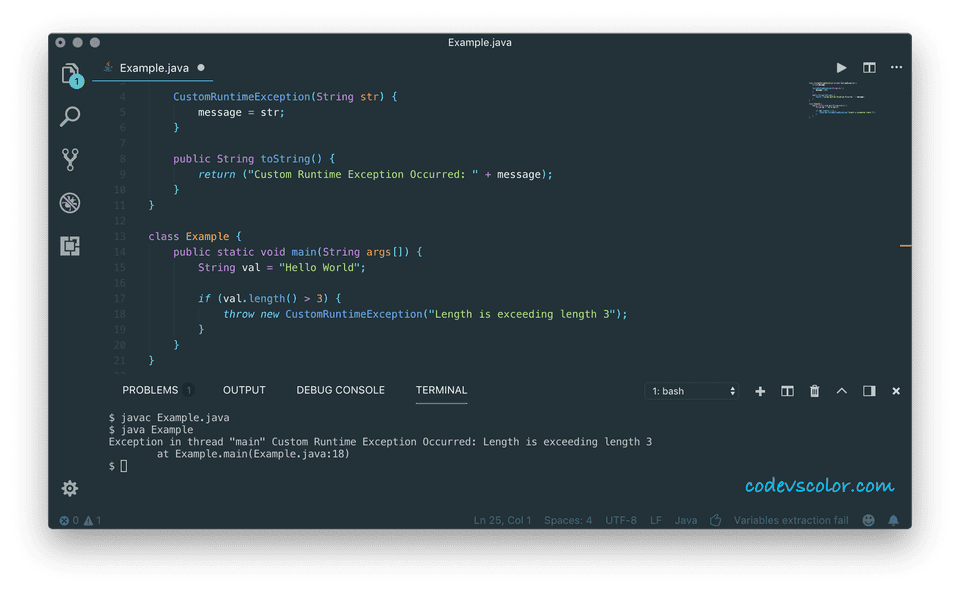 java custom exception example