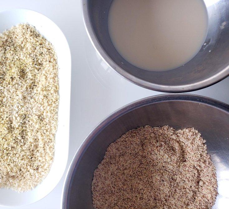Bowl of panko crumbs, flour, and cashew cream
