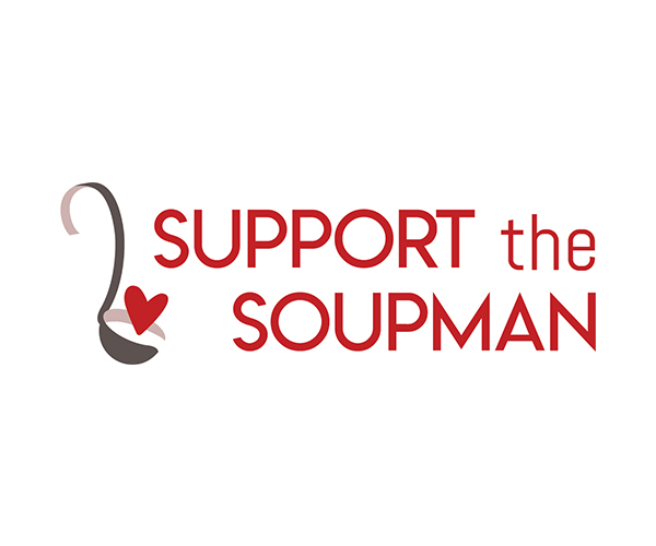 Logo with red type saying Support the Soupman with a grey ladle holding a heart