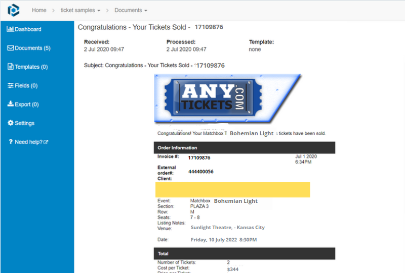 Example of an AnyTickets email