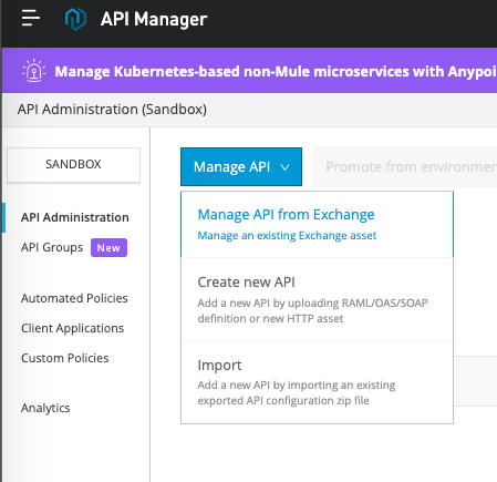 Mulesoft manage API