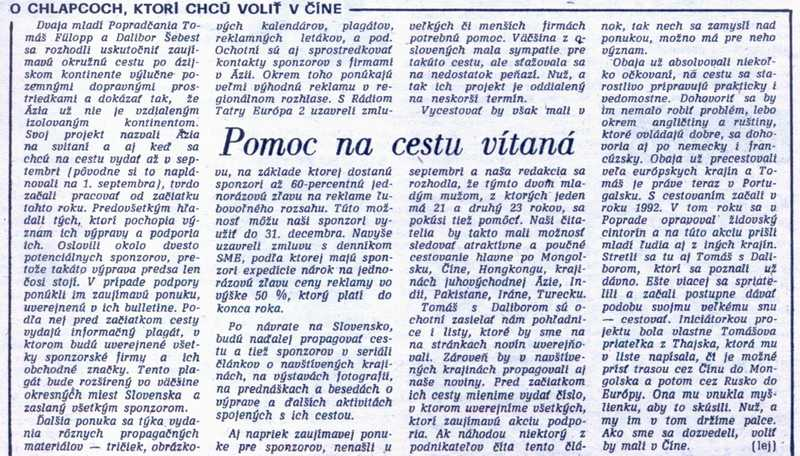 Pomoc na cestu vítaná, Poprad, č. 61, 5. augusta 1994