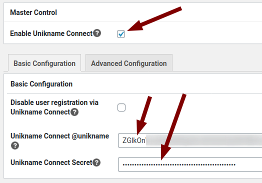 Unikname Connect for WordPress basic configuration