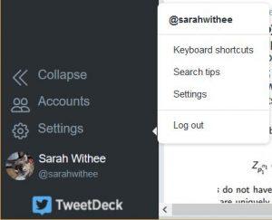 Tweetdeck settings menu