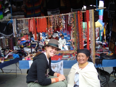 In Otavalo, Ecuador with a Craftswoman