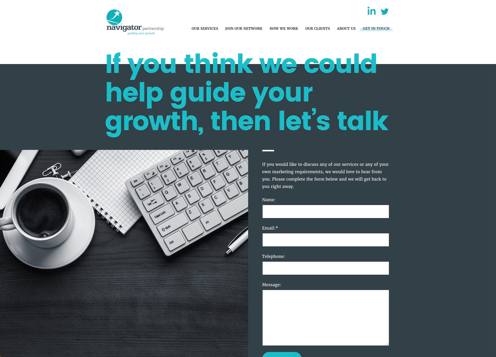 The Navigator Partnership contact page with contact form
