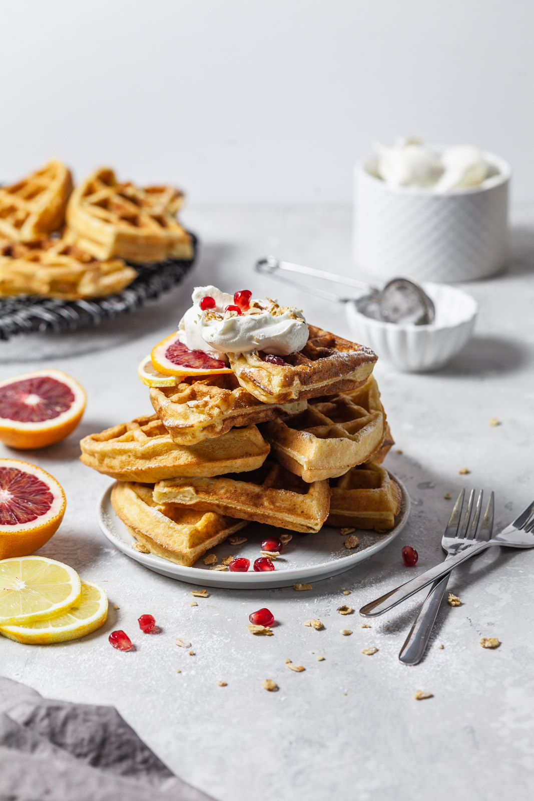 Fluffy Lemon Ricotta Waffles