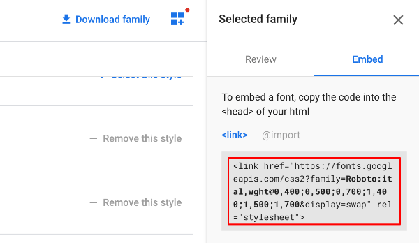 Google Fonts Embed