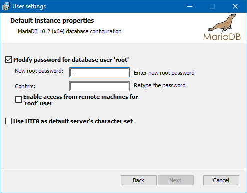 Specifying a root user password during installation