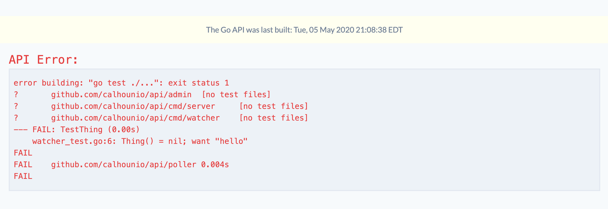 Screenshot of a failed test rendering in the React UI.
