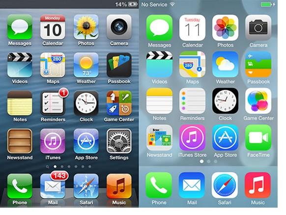 Comparison of iOS Skeuomorphism and Flat Design