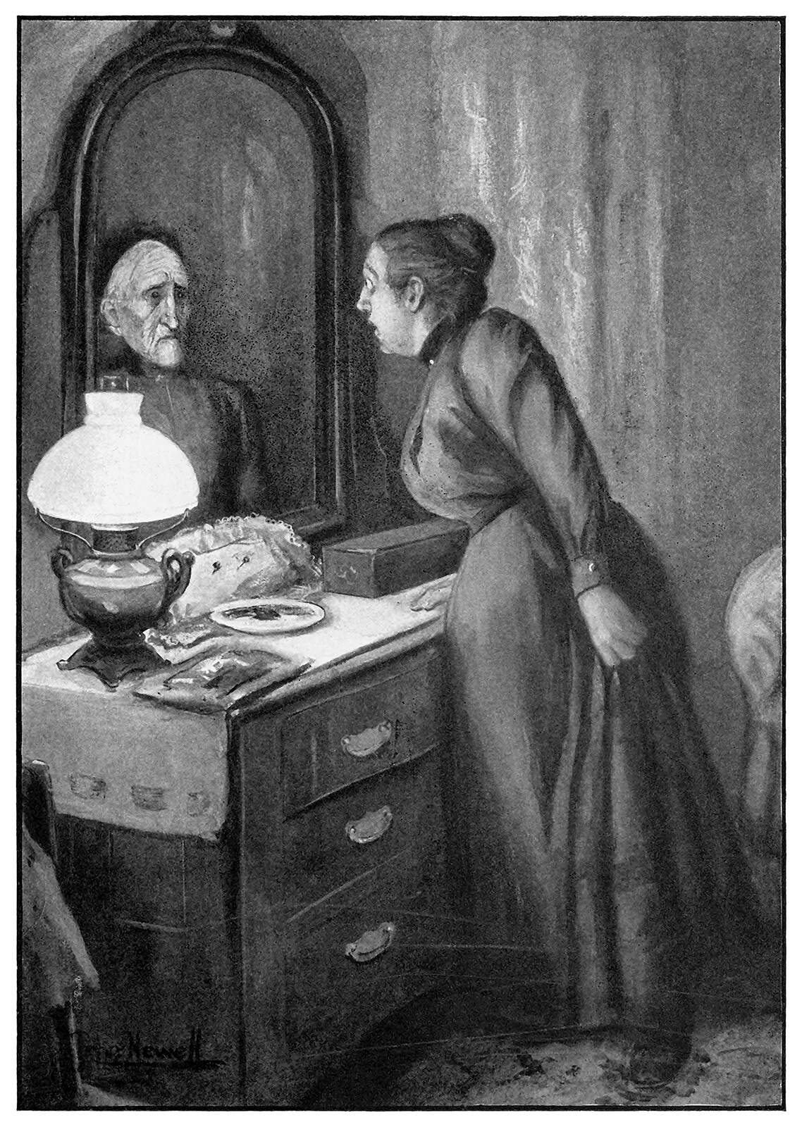 A woman looks into a mirror to see a ghostly face look back