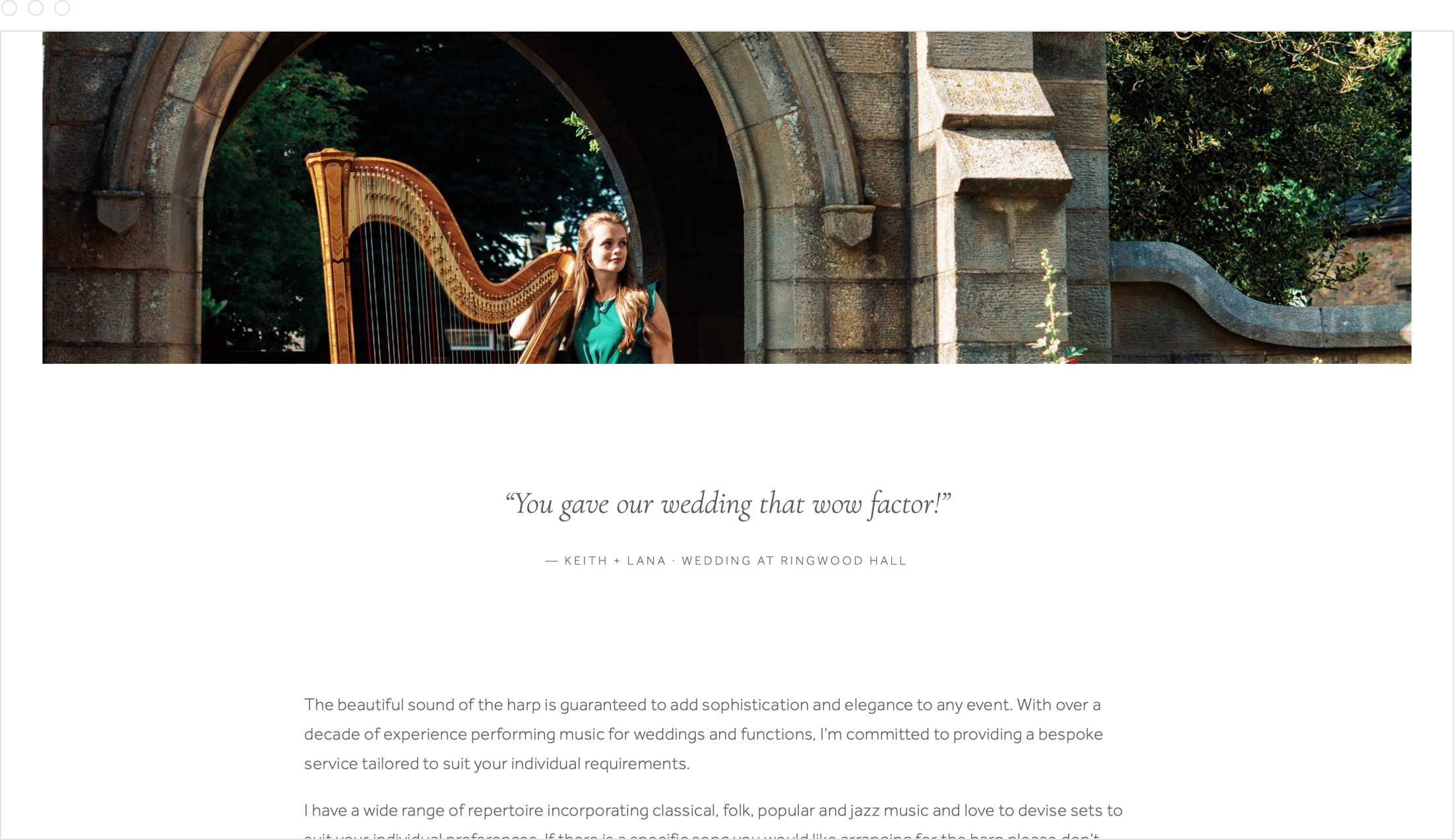 Simple, modern website design by Jack Watkins for award-winning classical musician harpist, Lucy Nolan