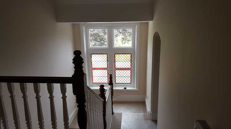 Refurbished landing-bar area, replaced with a new stained glass sash window