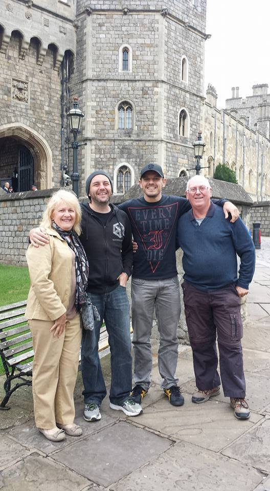 Family photo in front of Windsor castle