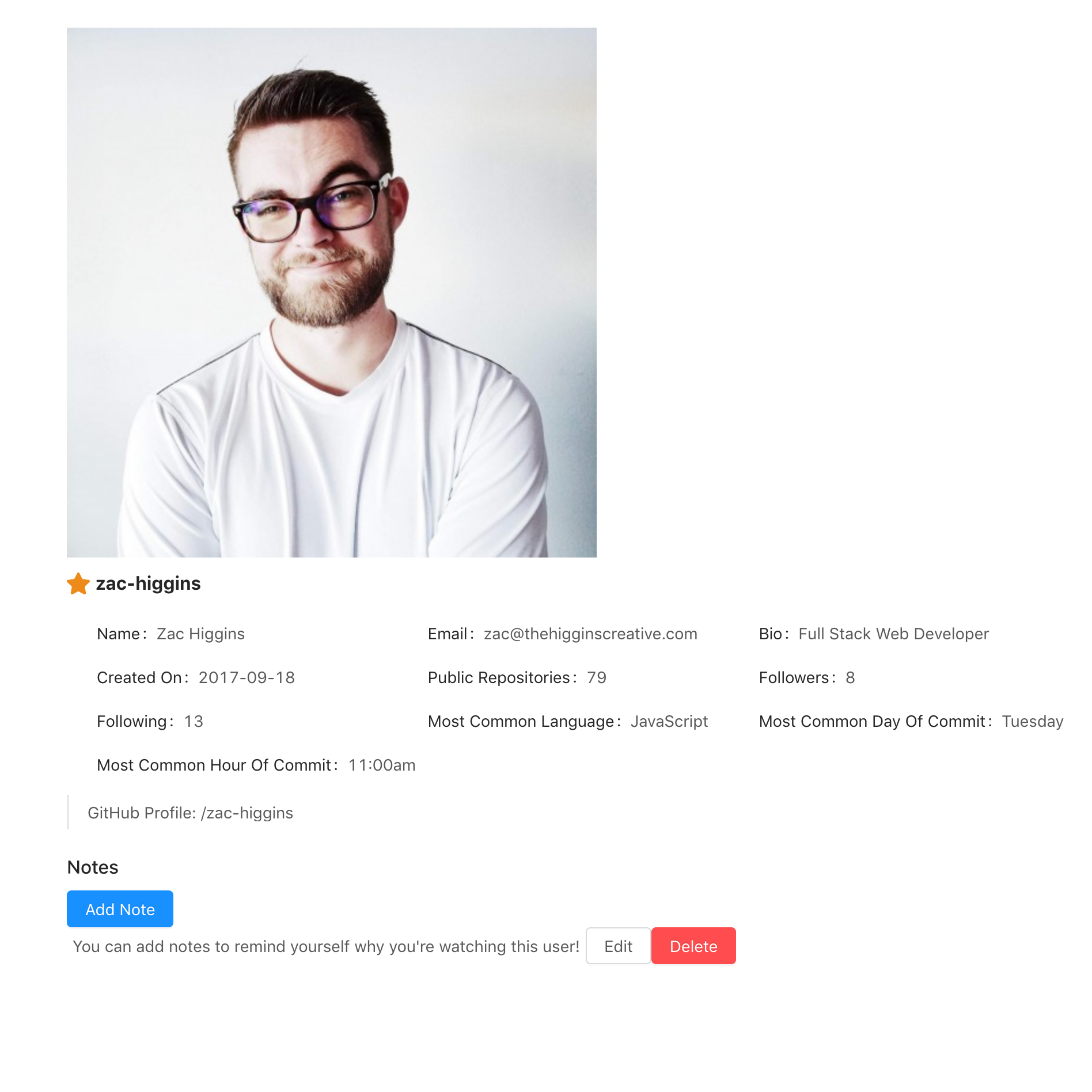 GitHub Profile with user status