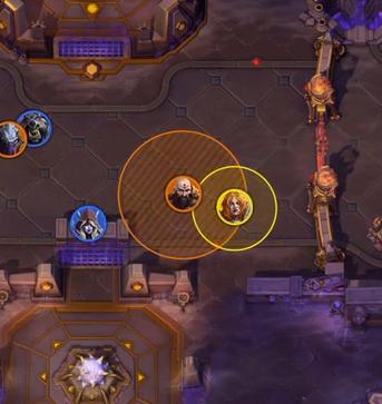 Screenshot of healing range indication feature