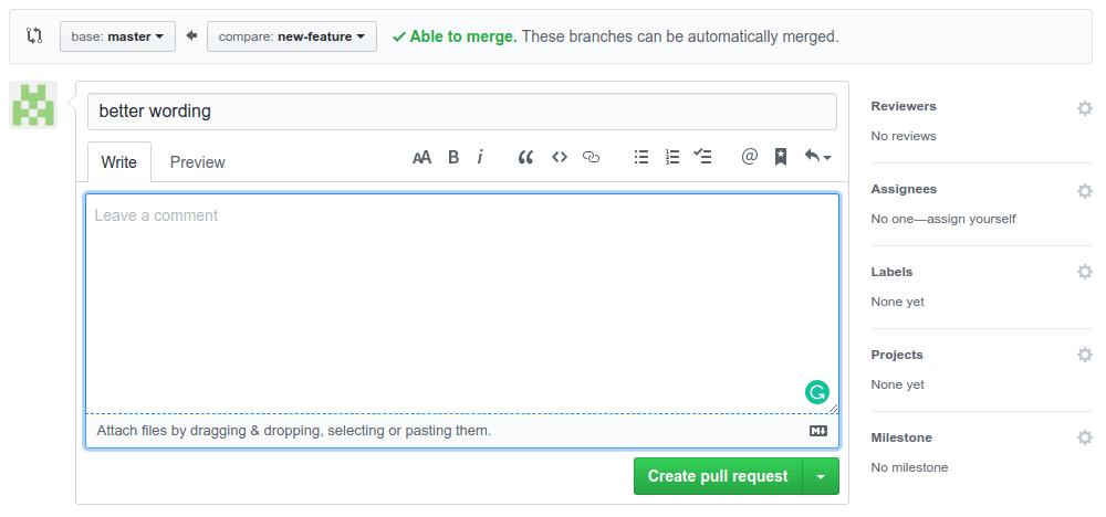 GitHub new pr description