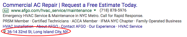 Location Extension on HVAC Google Ad
