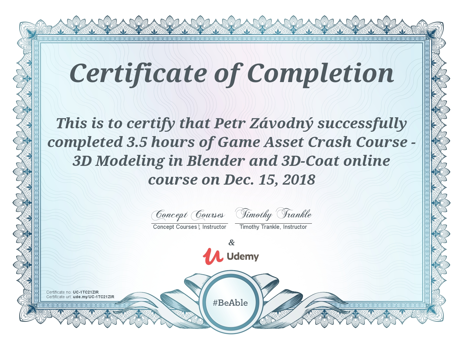 certificate Modeling in Blender and 3D coat - beginner