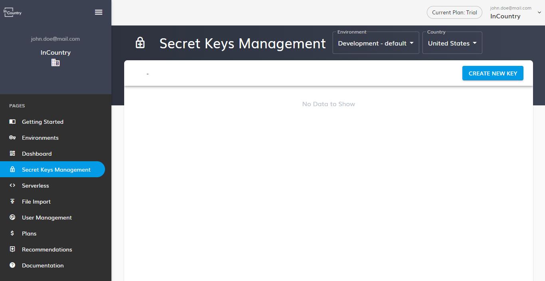 The Secret Keys Management page