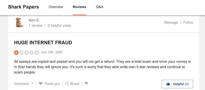 negative reviews about sharkpapers.com on sitejabber