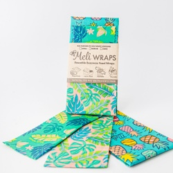 Meli Wraps   3 Pack Reuseable Beeswax Wrap -- Hawaiiana Variety