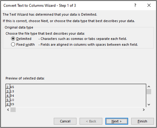 """The """"convert text to columns"""" window that pops up when you opt to change text to columns in an Excel spreadsheet"""