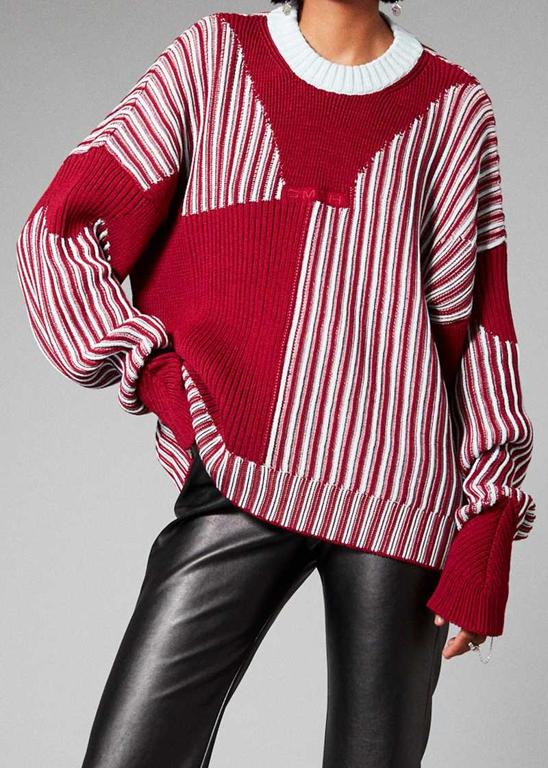 MIES knit jumper in blue/red. GmbH Spring/Summer 2021 'RITUALS OF RESISTANCE'