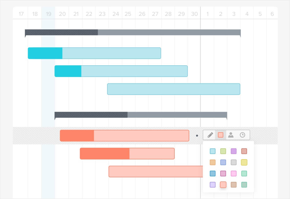 How to make a gantt chart in 5 minutes or less teamgantt tip you can even change the color of multiple tasks at one time by holding down the shift key on your keyboard to select multiple tasks and then use the nvjuhfo Choice Image