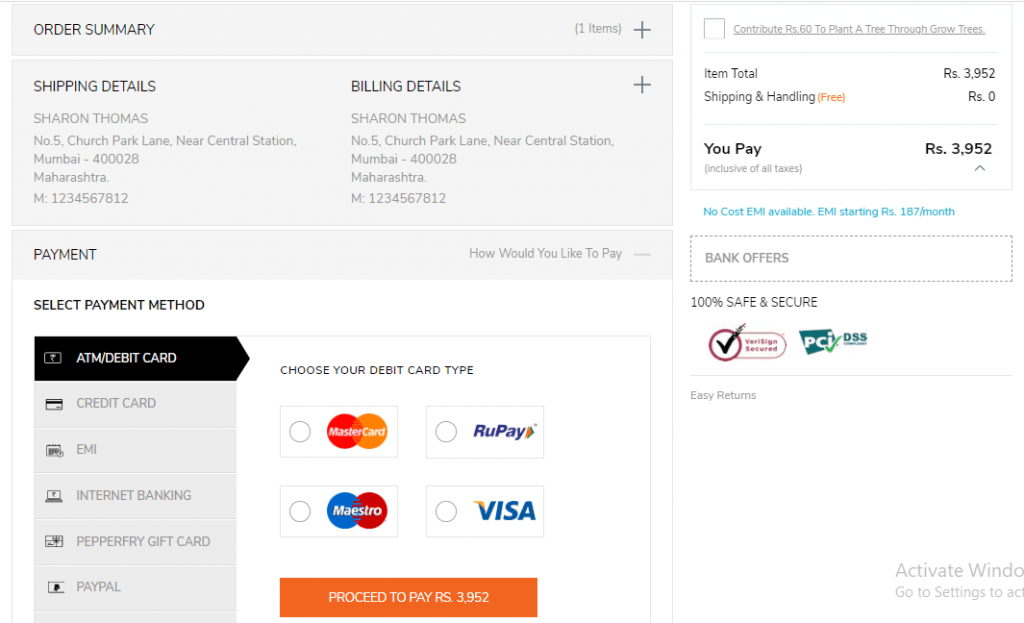 Pepperfry payment page