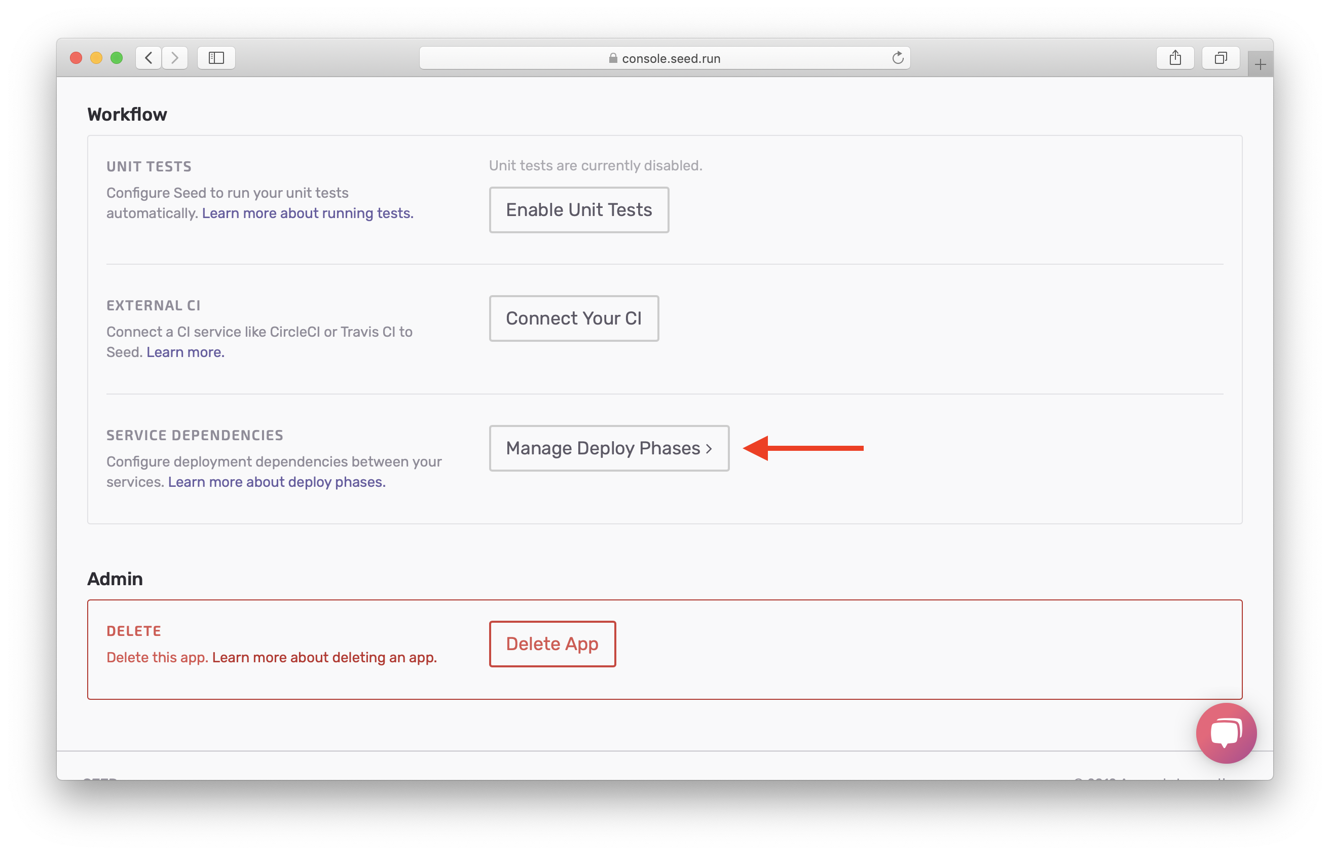 Hit Manage Deploy Phases screenshot