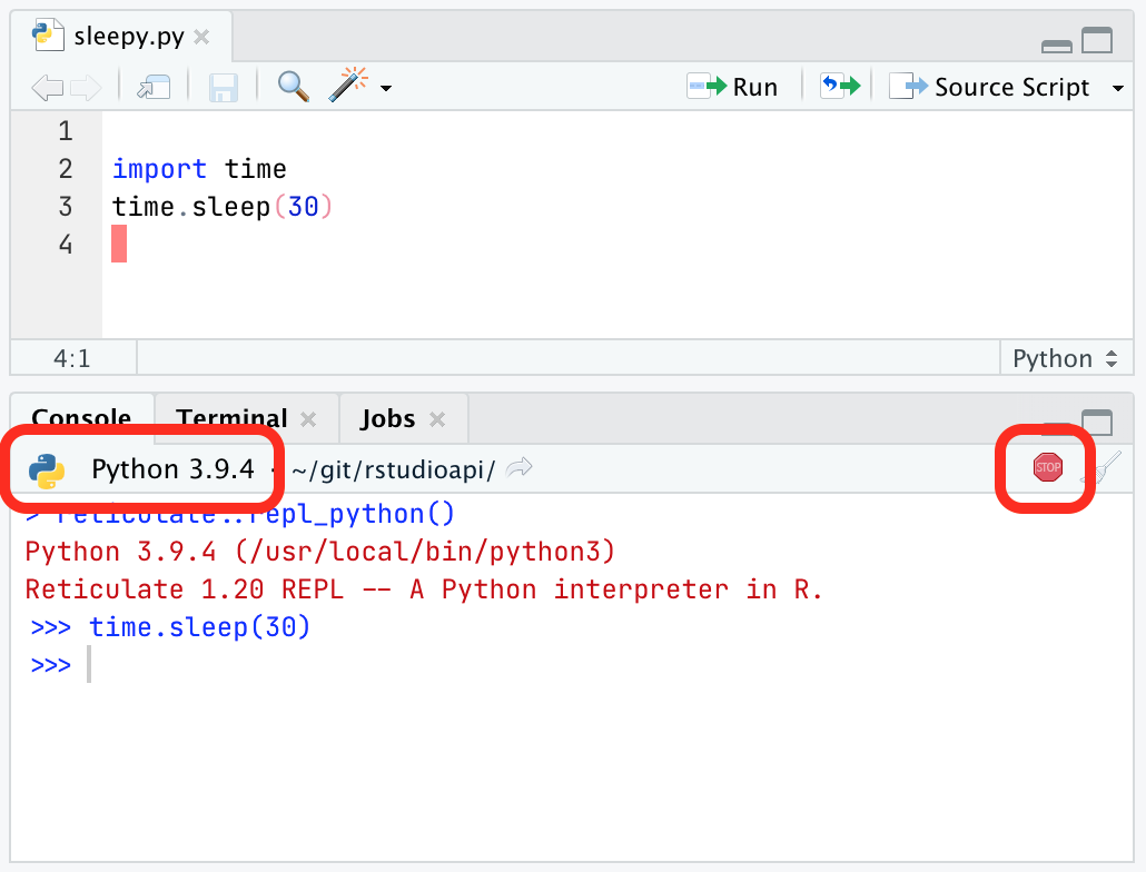Screenshot of RStudio's improved python support, showing the version information and stop button