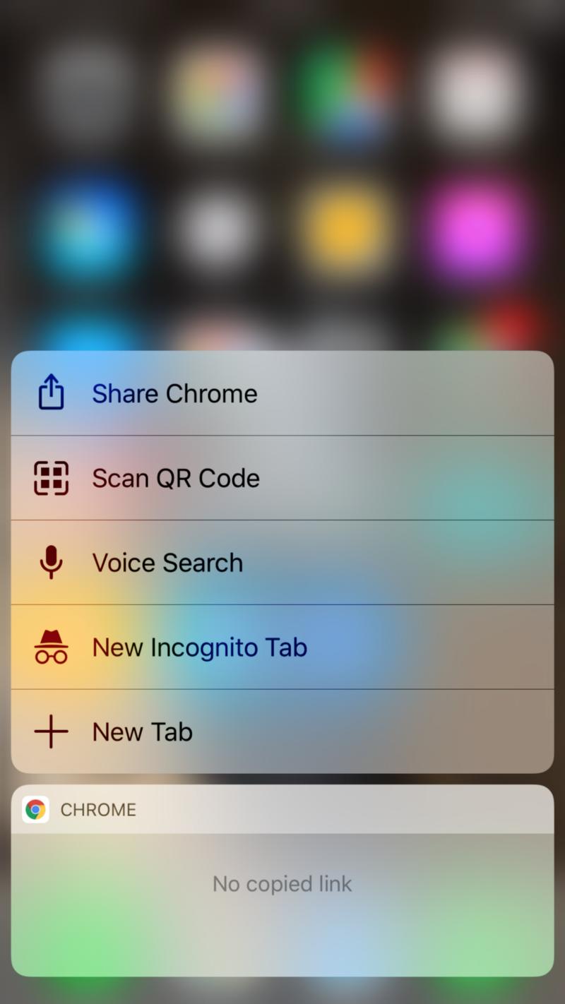Context menu on homescreen in iOS