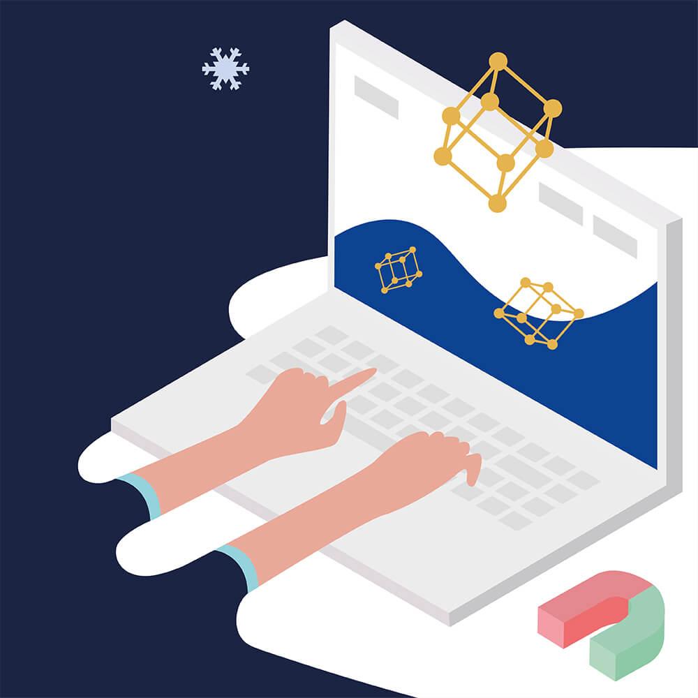 Teilillustration von Ferroric Cooling: Hände tippen auf der Tastatur eines Laptops