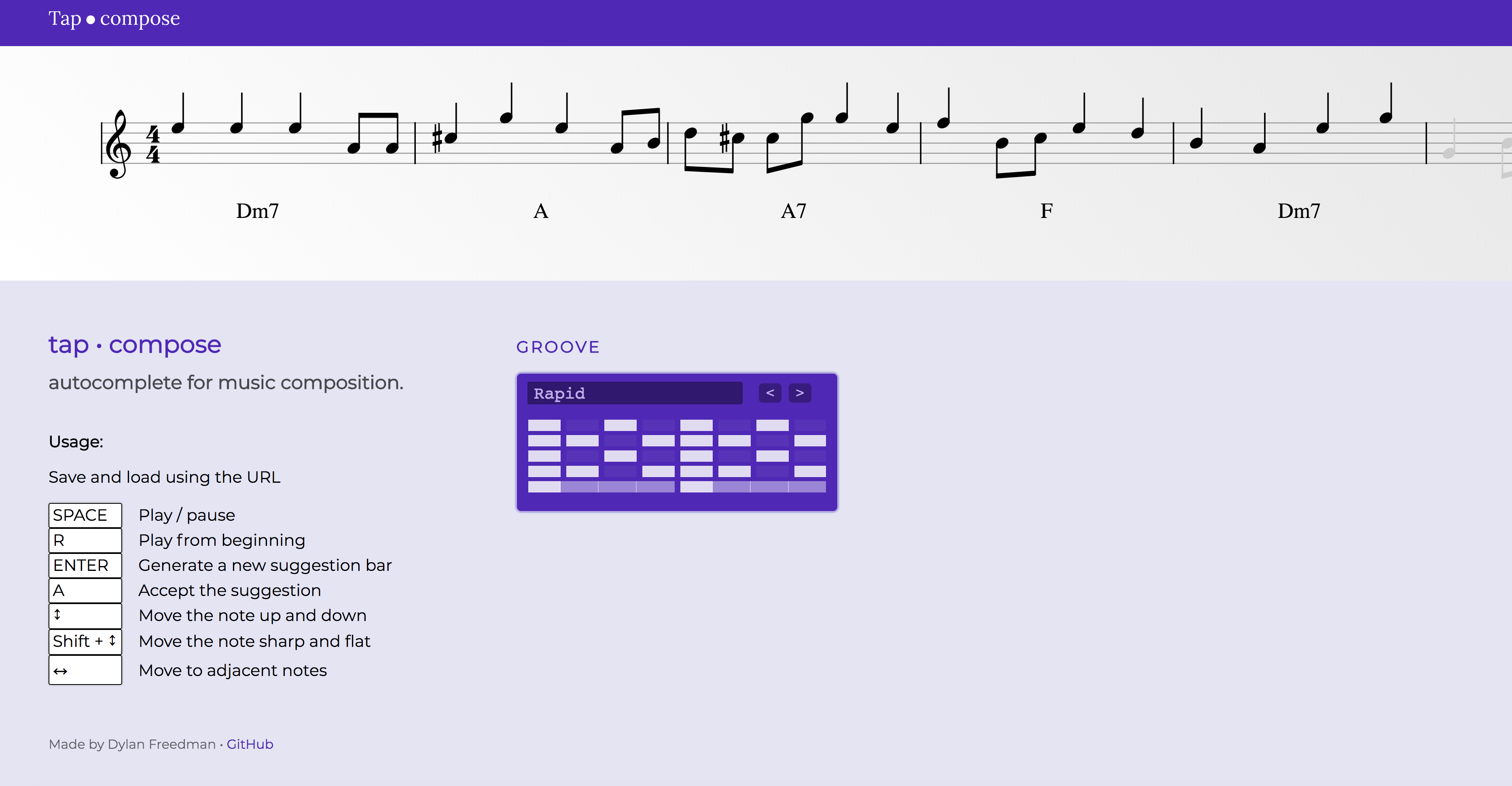 Screenshot of Tapcompose: a musical score at the top and a dialog to change the groove and usage controls at the bottom.