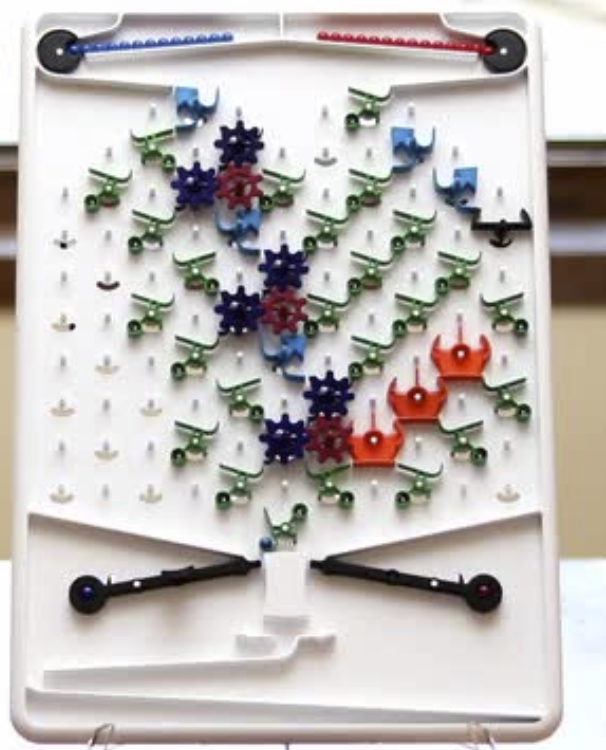 """The game """"Turing Tumble"""" contains an imlementation of logical gates using marbles."""