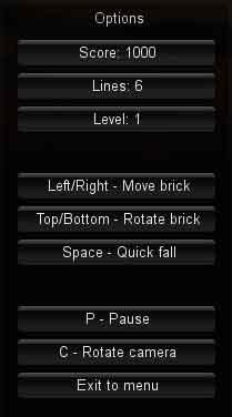 Screenshot of Tetris options