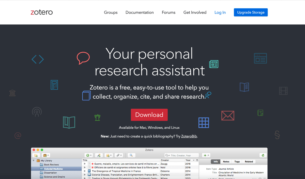 Screenshot der Zotero Start Page