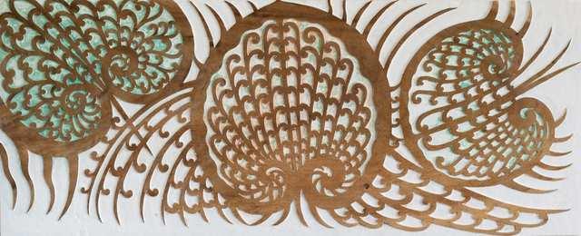 Scallops, woodcarved woodblock acrylic teakwood