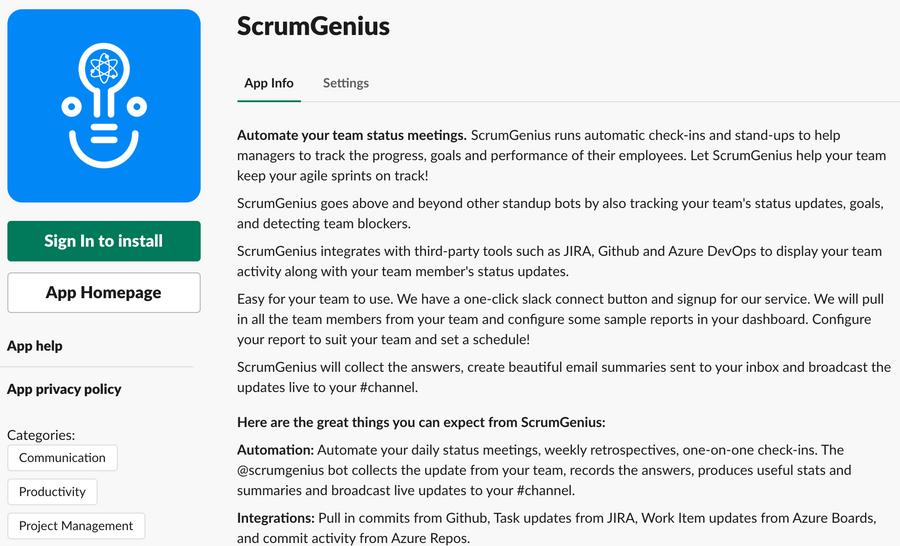 Automated daily standups on Slack | ScrumGenius