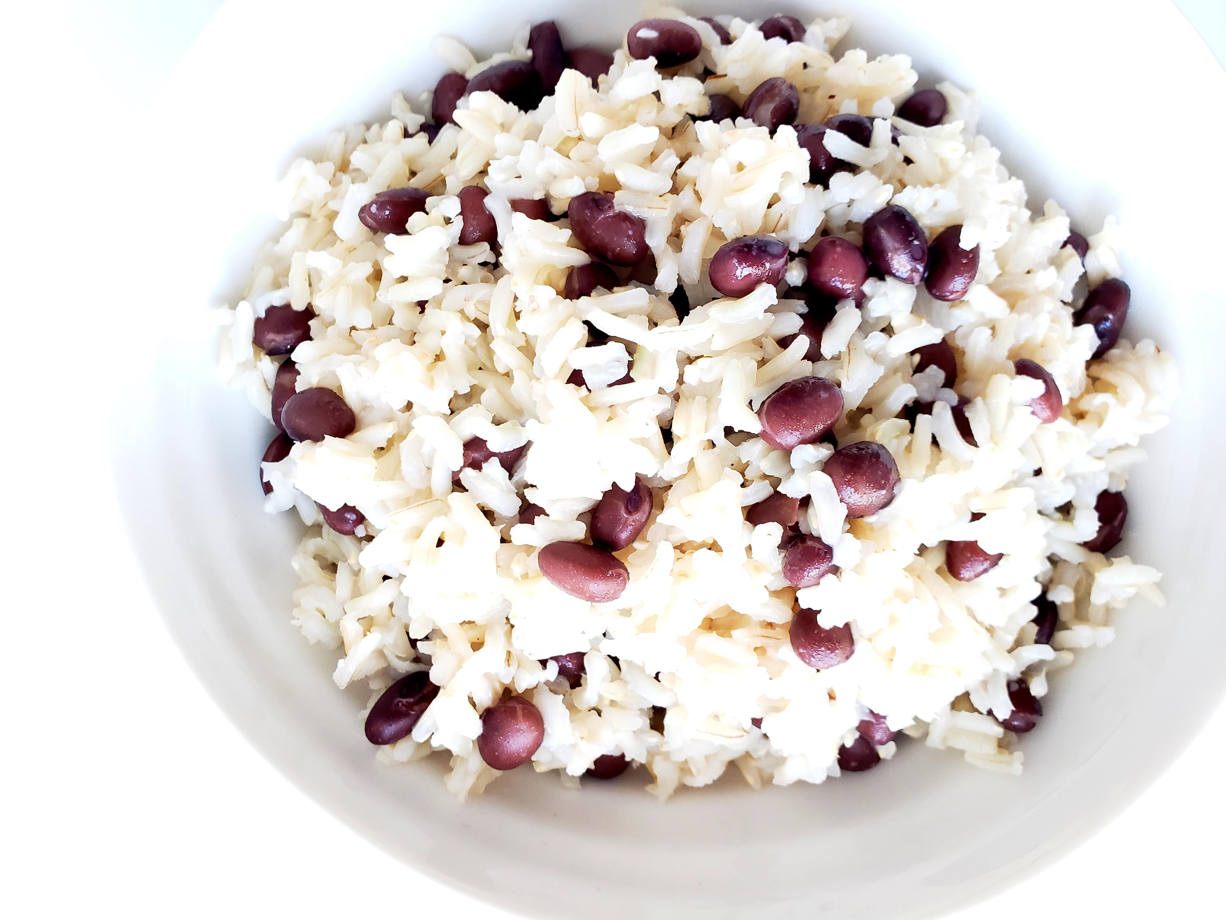 Bowl of Coconut Jasmine Rice with Black Beans
