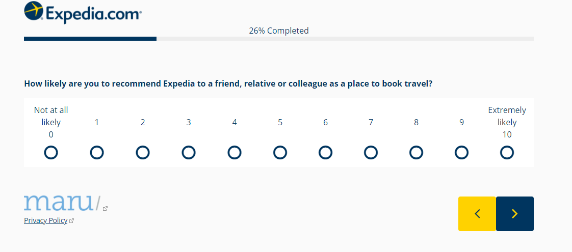 Example of an NPS Survey from Expedia