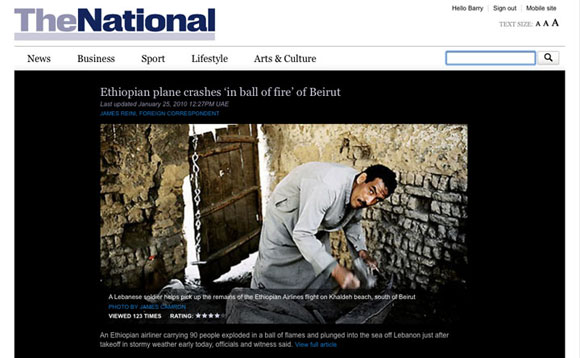 Screenshot showing The National's website on a desktop