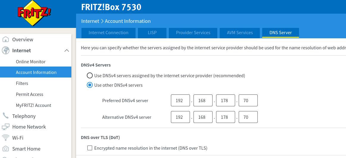 Screenshot of Fritz!Box WAN DNS Configuration