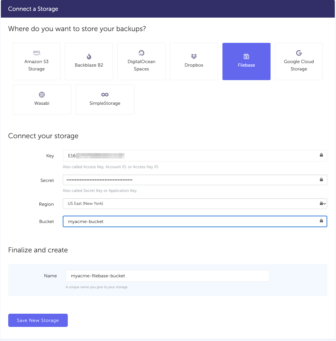 Connect Filebase bucket to SimpleBackups
