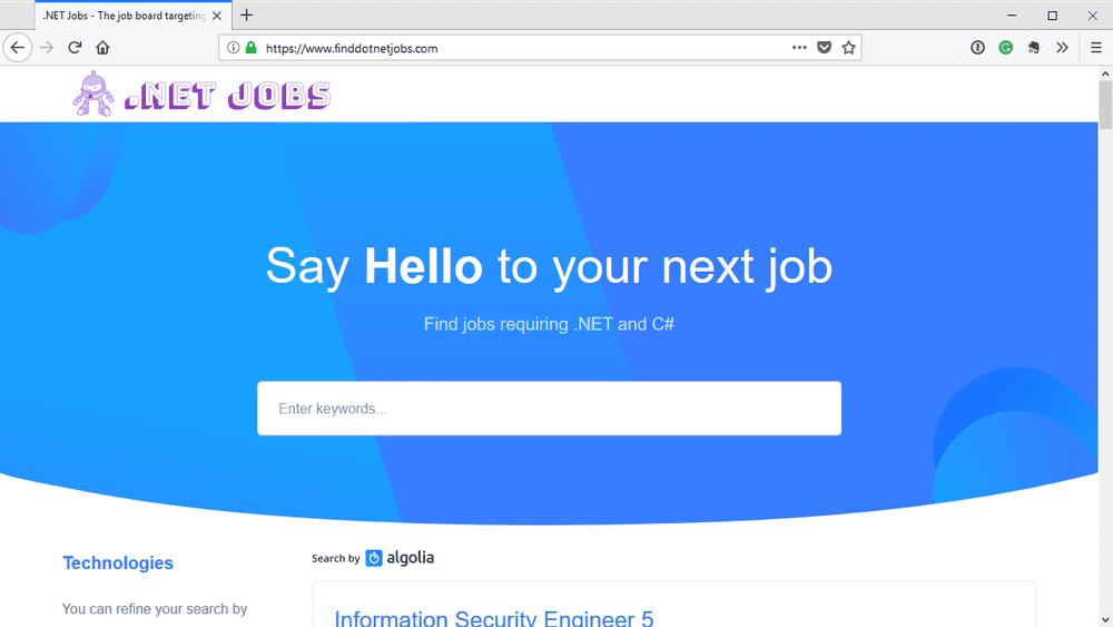 .NET Jobs Screenshot